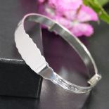 Baby Silver Expandable Bangle Personalised Engraved, ref. BB02